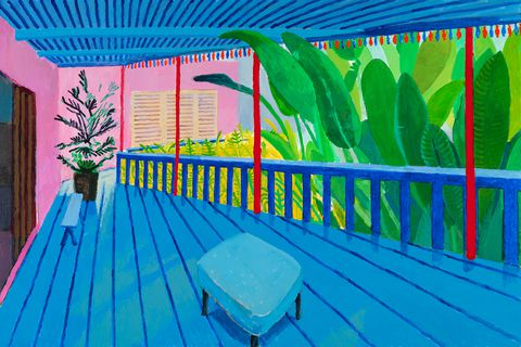 'Garden with blue terrace'. David Hockney