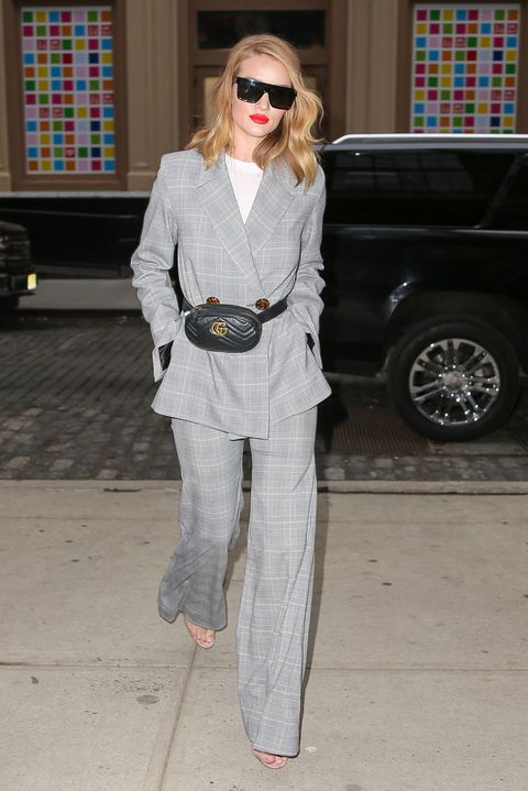 Rosie Huntington-Whiteley wears a plaid grey suit while returning back to her hotel in SoHo, New York City on March 28, 2018